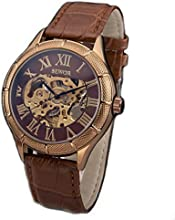 Sewor Rose Gold Skeleton Transparent Mechanical Stainless Steel Leather Sport Watch