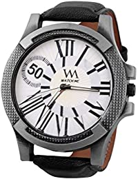 Watch Me White Dial Black Leather Watch For Men And Boys WMAL-083-W