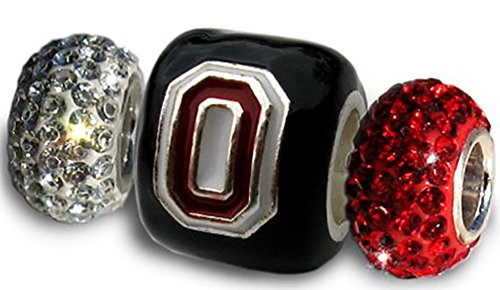 Ohio State Buckeyes 3-D Charms Set - Black Block O Leaf + Two Crystal beads (1 Red & 1 Clear)