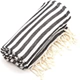 Linum Home Textiles Fun in The Sun Pestemal/Fouta Towel, Charcoal Black