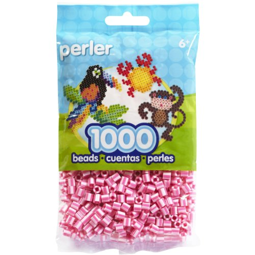 Perler Beads Bag, Pink Candy Stripe, 1000 Count - 1