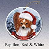 Holiday Pet Gifts Papillon, Red and white Santa Hat Dog Porcelain Christmas Tree Ornament