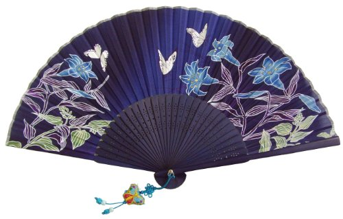 1 X Japanese Design Silk Handheld Folding Fan,Blue with fine flowers HF2