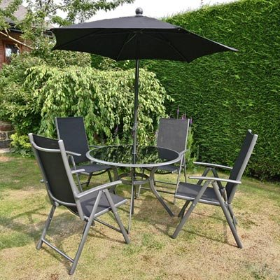 BillyOh Onyx Deluxe 106cm Round Reclining 4 Seater Metal Garden Furniture Set with Parasol