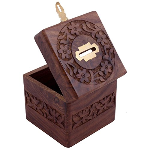 Craft art india brown handmade wooden square money bank for Handmade coin bank