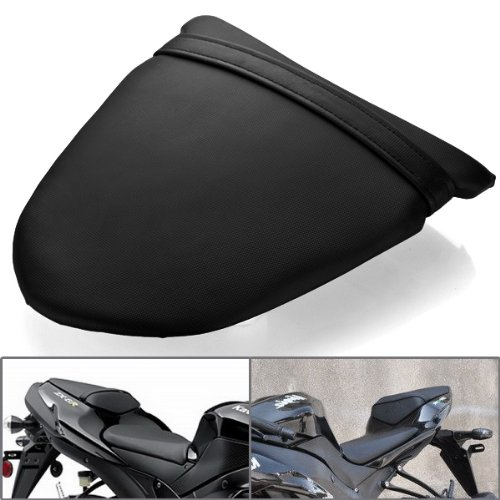 Black Motorcycle Custom Replacement leatherette Cover Cowl Rear Passenger Pillion Seat with Built in Mounting Bracket For 05 06 ZX-6R 06 07 ZX-10R