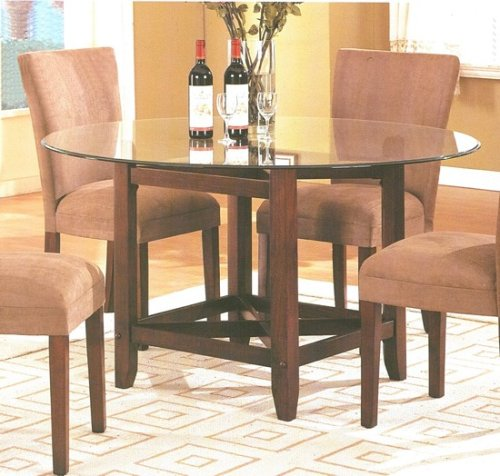 Cheap Brown Finish Wood Base Round Glass Top Dining Table (VF_AM9510)