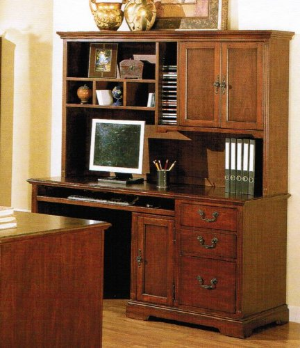 Buy Low Price Comfortable Computer Writing Desk with Hutch – Cherry Brown Finish (B002O563U0)