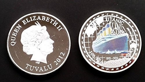 1 Oz .999 Fine Pure Silver Layered Steel Coin - Colored Titanic Ship and Elizabeth II - Grace Specialty 030