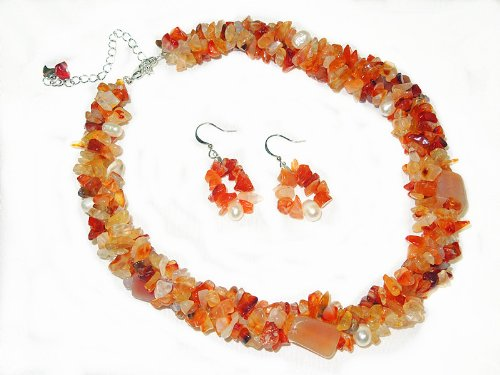 Agate Chips & White Fresh Water Pearl Handmade 3 Stands Layers Twisted Necklace and Earrings Set