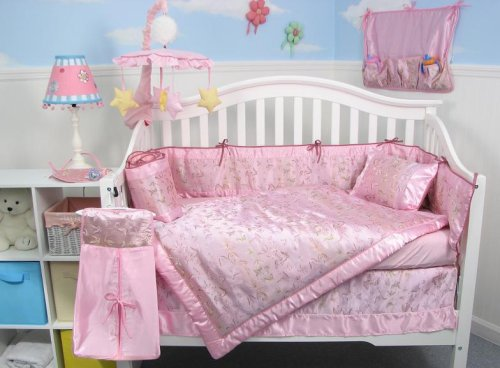 Pink Silky Butterfly Baby Crib Nursery Bedding Set 10pcs