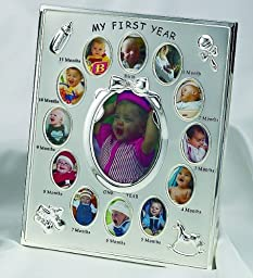 PEWTER FINISH BABYS FIRST 12 MONTHS FRAME - Picture Frame