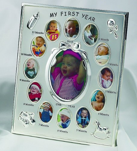 PEWTER FINISH BABYS FIRST 12 MONTHS FRAME - Picture Frame - 1