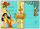 Dolce Mia Hula Girl Hawaiian Party Invitations - Pack of 10 Fill-in Cards