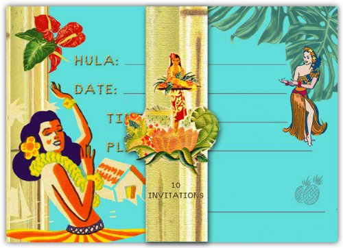 Dolce Mia Hula Girl Hawaiian Party Invitations