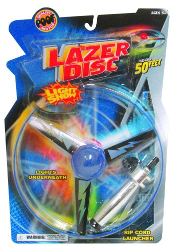 Poof-Slinky - Lazer Disc Light Show Flying Saucer With Rip Cord Launcher, 2133Bl