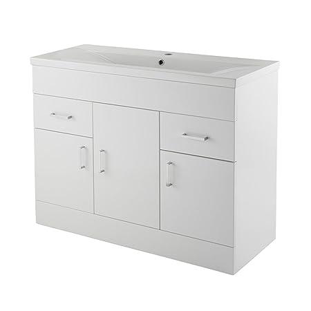 Trueshopping 1000mm White Gloss Vanity Bathroom Storage Unit with Basin Ready Assembled