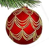 Barcana 120-mm Shatterproof Red Glitter Drape, Christmas Ornament, Set of 2