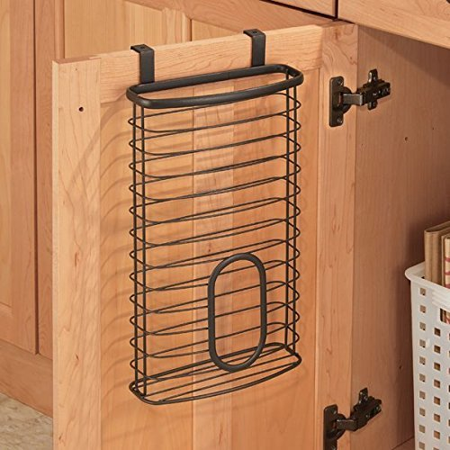 mDesign Over the Cabinet Kitchen Storage Holder for Plastic and Garbage Bags - Bronze (Over The Cabinet Trash Holder compare prices)