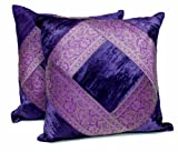 2 Traditional Banarsi Silk Brocade Velvet Indian Ethnic Decorative Purple Throw Pillow Cushion Covers