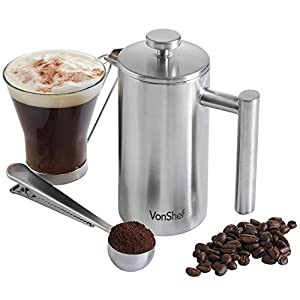 VonShef Double-Wall Keep Warm Satin Brushed Stainless Steel Cafetiere Coffee Filter. Available in sizes 3, 6 and 8 Cup (3 Cup w/ Measuring Spoon and Sealing Clip)