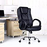 SANTANA BLACK HIGH BACK EXECUTIVE OFFICE CHAIR LEATHER SWIVEL, RECLINE, ROCKER COMPUTER DESK FURNITURE