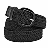 Black Braided Elastic Stretch Belt Size Medium