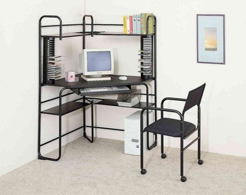 Buy Low Price Comfortable 2pc Black Finish Metal Corner Fit Computer Desk/Workstation Table +Chair (B0002KNLFY)