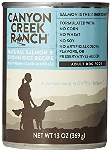 CANYON CREEK 070191 12-Pack Salmon/Brown Rice Canned Food for Dogs, 13-Ounce