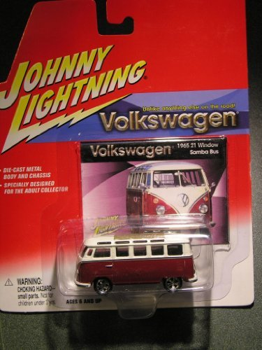 Johnny Lightning Volkswagen Release 1 1965 21 Window Samba Bus White/Red