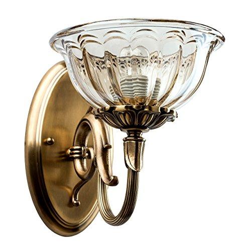 Luminaire applique laiton antique patiné abat-jour en verre clair style classique 1 bras non-incl.E14 1*40W 230V