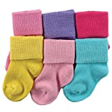 Luvable Friends 6 Pack Basic Cuff Socks, Multi-Color, 6-18 Months