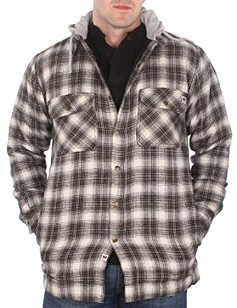Farmall IH Men's Quilt Lined Flannel Hoodie 1 Cream/Black L