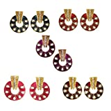 Combo of ( Pack of Five Earrings Set )Tradisyon Bollywood Celebrity Inspired Blue, Red, Maroon, Pink, Majenta Hanging Earrings By Kaizer