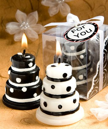 Luscious black and white wedding cake candle favors