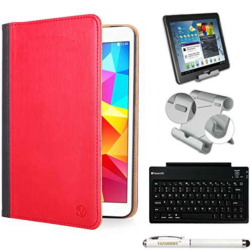 Mary Executive Leather Portfolio Case [Stand] [Rear Camera Hole] For Samsung Galaxy Tab Pro 10.1 + Bluetooth Keyboard + Foldable Stand + Stylus Pen