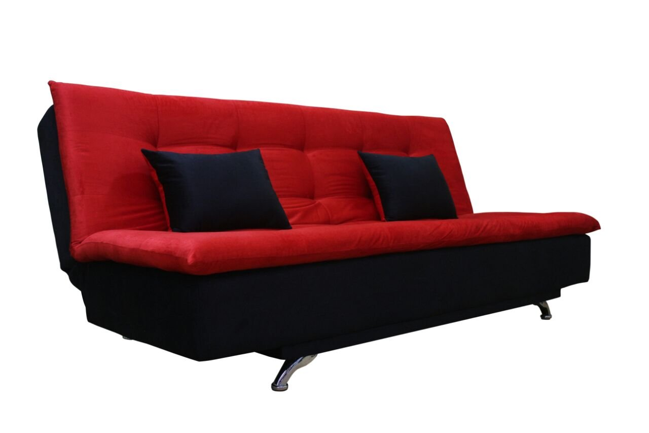 Adorn india aspen three seater sofa cum bed red and black for Sofa bed india