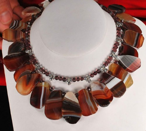 Double Strands Natural Agate Nugget Beads Silver Necklace N2_0715_03