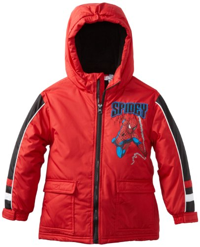 Marvel Boys 2-7 Spiderman Tangled Webs Coat, Red, 5