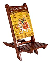 Rajrang Attractive Brown Wood Baby Chair Elephant Hand Painted