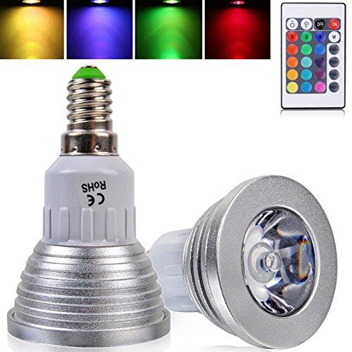 2X E14 3W Led Rgb Colour Changing Spotlight Light Bulb With Ir Remote Controller