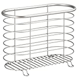 InterDesign Forma Newspaper and Magazine Rack for Bathroom, Office, Den - Brushed Stainless