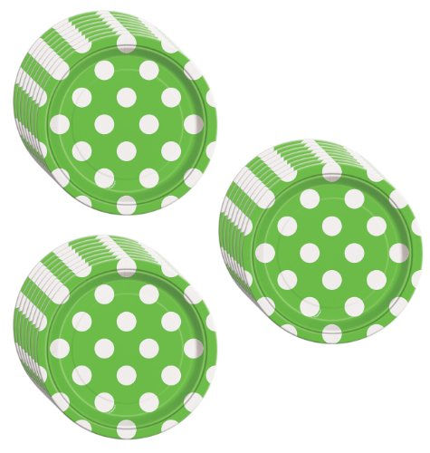 Lime Green Polka Dot Dessert Plates - 24 Pieces