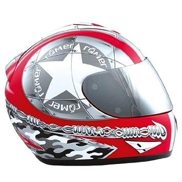 Römer 200144 Roemer Star Casque de Moto de Plein Visage, Noir/Rouge, Taille : L