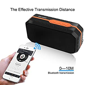 Ecandy Waterproof Wireless Speakers,Unbreak waterproof Shockproof Bluetooth Stereo Speakers,Outdoor Speakers for Climbing,Cycling, Hiking (Black/Orange)