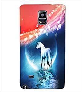 PrintDhaba White Horse D-4013 Back Case Cover for SAMSUNG GALAXY NOTE 2 (Multi-Coloured)