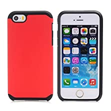 buy Iphone 5S Case,Iphone 5 Case,Lantier Cool Series [Slim Thin Armor] Dual Layer Protective Hybrid Shockproof Case For Apple Iphone 5/5S Black-Red