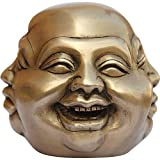 Brass Buddha Statue Collectibles 4 Face Sculpture Laughing, Smiling, Angry and Sad 10.16 x 10.16 x 10.16 cmsby DakshCraft