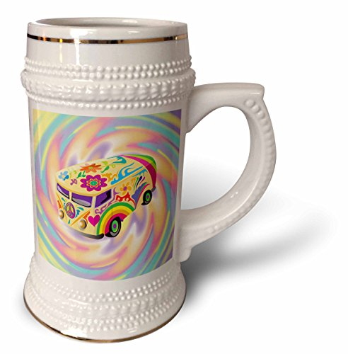Dooni Designs Retro Style Cartoons - Funky Retro Hippie Sixties Seventies Bus WIth Swirly Psychedlic Background - 22oz Stein Mug (60s Background)