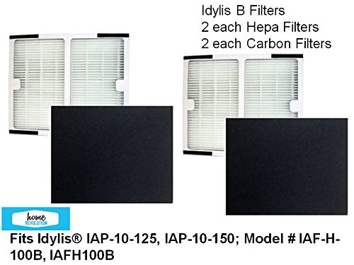 2-PACK Idylis B HEPA Air Purifier Filter PLUS 2-PACK CARBON Filters for IAP-10-125, IAP-10-150; Model # IAF-H-100B, IAFH100B by Home Revolution